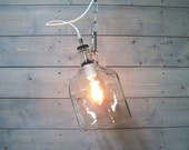 Glass Bottle Pendant Light with Hanging Chain - 1 Gallon Repurposed Wine Jug Glass Bottle with White Porcelain Socket