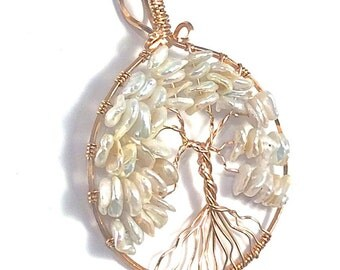 Pearl and Rose Gold Tree of Life Pendant, June Tree of Life Pendant,  Customized Tree of Life Pendant, June Birthstone, Pearl Necklace
