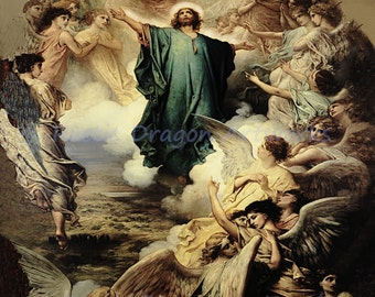"Gustave Dore ""L' Ascension"" 1879  Reproduction Digital Print Ascension Jesus Christ Angels Archangels Heaven Christianity Religion"