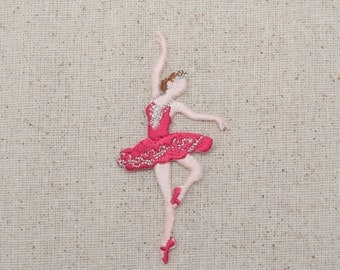 Ballerina - Ballet Dancer - Fuchsia Hot Pink Dress - Iron On Applique - Embroidered Patch -  695720-A