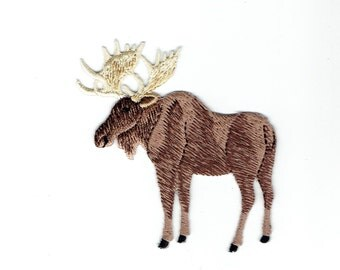 Moose - Natural - Facing Left - Full Body - Iron on Applique - Embroidered Patch - 696994-C