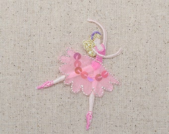 Ballerina - Ballet Dancer - Pink Sequin Dress - Iron On Applique - Embroidered Patch -  693750-A
