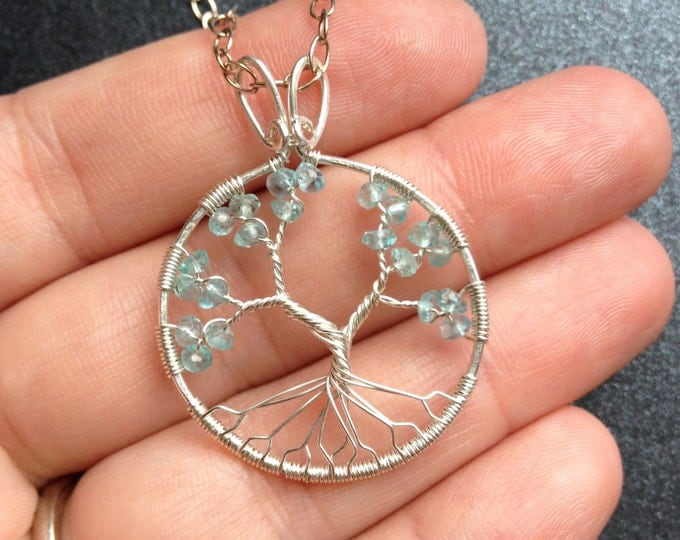Personalized Family Tree Pendant Custom Aquamarine Jewelry Handmade Gift for Her Silver Blue Apatite Tree-of-Life Necklace Gift for Wife
