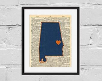 Auburn Print. Dictionary Art Print