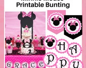 Minnie Mouse Bunting - Printable party bunting flags and circles - Free personalization - Pink and black - Instant Download