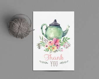 Tea Party Thank You Card Printable Instant Download, Tea for Two Party, Tea Pot DIY Thank Yous, High Tea Bridal Shower Thank You