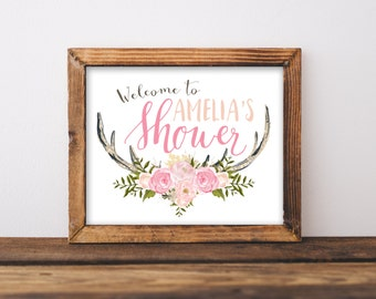 Baby Shower Welcome Sign Printable, Antler Girl Pink Oh Deer Woodland Theme Party Printables, Rustic Welcome to the Shower Antlers