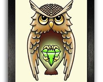 Owl with Gem Tattoo Poster Art Print, Traditional Owl Illustration Print, Owl Wall Decor, Tattoo Artwork, Boyfriend Gift, College Dorm Decor