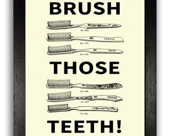 Bathroom Signs Vintage brush your teeth | etsy