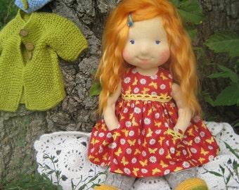 """Waldorf doll 17"""", waldorf fabric doll, steiner doll, cloth doll, gift for girl, organic doll, waldorf toy"""