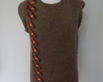 Vintage 80s tank top Hand Knit brown wool jumper sweater Tank Top Vest size small to medium