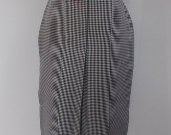 Vintage 80s checked dog tooth skirt black white pleated 80s skirt size small