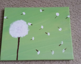 8x10 canvas green and white dandelion painting