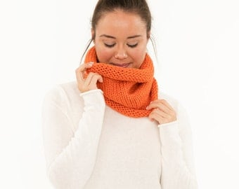 Ready To Ship! SALE - Vegan Chunky Knitted Infinity Cowl, Handmade Pumpkin Crocheted Scarf, Crochet Knit Neck Warmer, Women's Cozy
