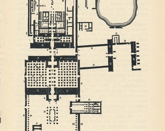 1929 Karnak Temple, Temple of Amun-Ra Egypt Antique Map
