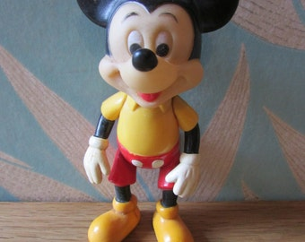 Vintage Walt Disney Productions bendable Mickey Mouse figure, made in Hong Kong