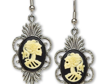 Gothic Lolita Skull Cameo Dangle Earrings Ivory on Black #1014I