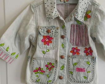 Handpainted girls jean jacket