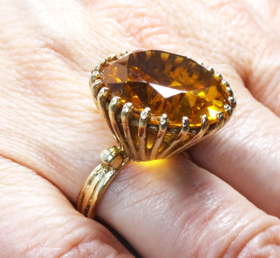 Vintage 14k Gold Citrine Ring 14k Large Round Genuine Citrine