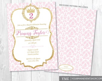 Princess Birthday Invitation • Pink and Gold Princess Invitation • Personalized Princess Birthday Party Invite Printable