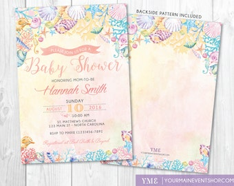 Awesome Beach Baby Shower Invitation U2022 Watercolor Ocean Coral Seashell Invite U2022  Nautical Summer Boho Baby Shower