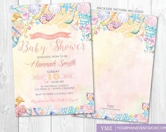 beach baby shower invitation u2022 watercolor ocean coral seashell invite u2022 nautical summer boho baby shower