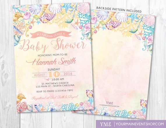 Beach baby shower invitation watercolor ocean coral seashell il570xn filmwisefo Image collections