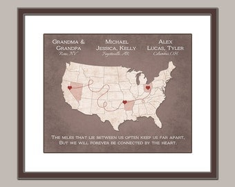 Grandparents Gift - Personalized Map - Christmas Gift From Grandkids - Long Distance Grandparents Gift - Grandma and Grandpa Gift 8x10 PRINT