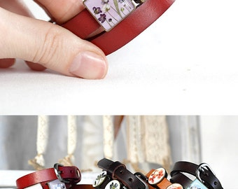 Eco-Friendly bracelet resin jewelry Friendship gift Red bracelet Marsala Bohemian jewelry Leather bracelet boho Double wrap bracelet