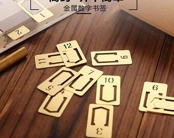 12 PCS Copper Traveler bookmark / Brass Digital Metal bookmarks / Vintage metal bookmarks / Label holder/Midori accessories A06