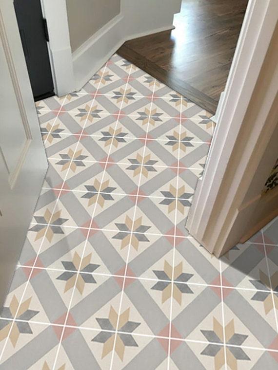 vinyl floor tile sticker floor decals carreaux ciment encaustic gustavian tile sticker pack. Black Bedroom Furniture Sets. Home Design Ideas