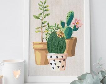 digital print, Cactus printable printable art, cactus art succulent cactus wall art, cactus watercolor, succulent wall art, botanical print