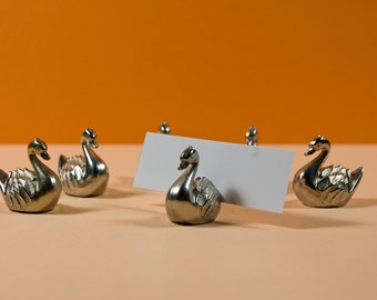Six vintage French place card holders in the form of a swan
