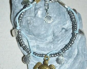 Ankle Bracelet Sea Turtle, Turtle Anklet, Sea Turtle Anklet, Silver Turtle Anklet, Hemp & Beaded Anklet with Turtle Charm, Turtle Anklet