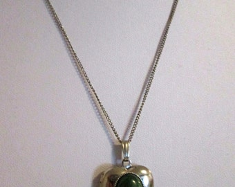 Vintage Heart Locket with Green Oval Cabochon and Chain