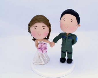 Pilot groom - Airforce. Couple holding hands. Wedding cake topper. Handmade. Unique keepsake