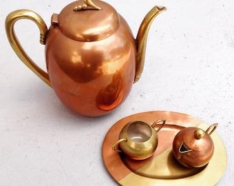 Mexican Mixed-Metal Coffee/Tea Service