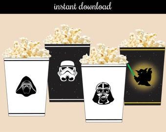Star Wars Printable Popcorn/ Treat Box - instant download