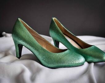 Glitter shoes mint Wedding shoes Glitter wedding shoes Wedding shoes mint green High Heels Low heels flat light green wedding shoes SIZE 5