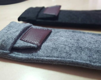 Minimalist felt pencil case. Also for stylus and Ipod 5 -  Wool Case