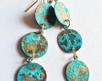Patina Earrings/ Patina Drop Earrings/ Verdigris Patina Earrings/ Rustic Patina Earrings/ Boho Chic/ Long Patina Earrings/ Old World Beauty