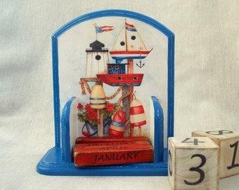 2017 Calendar  Wood Block Perpetual Calendar  Desk Calendar  Nautical Style Wooden Blocks  Calendar Bricks  Nursery  Nautical
