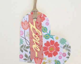 Valentines Day Tags, Heart shaped tag, Love Handwritten tags, Gift Tags, Favor Tags, Calligraphy tags, Love tags