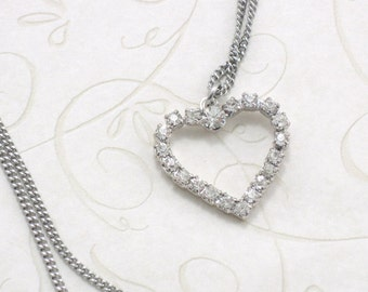 Silver Crystal Heart Pendant Necklace Simple Heart Necklace Heart Pendant Necklace For Women Elegant Heart Necklace gift under 10