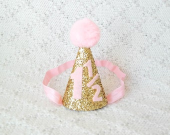1 1/2 Gold and Light Pink Birthday Hat, 18 Month Birthday Hat, Baby Party Hat, Pom Pom Glitter Hat, A Year and a Half Birthday Hat