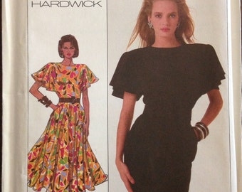 Simplicity 8055 - 1980s Cathy Hardwick Dress with Flutter Sleeves and Pencil or Flared Skirt - Size 14 Bust 36