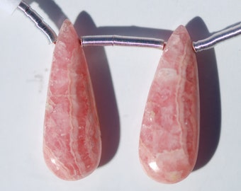 Rhodochrosite Pendant Earring Pair, translucent pink and white, 21.5 x 8mm, teardrop shape, C4359