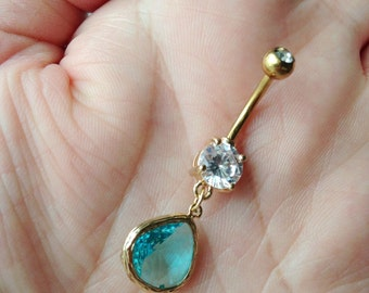 Birthstoe belly button ring. Gold belly ring.