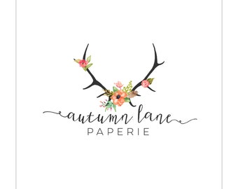 Pre-Made Logo - Premade - Antler - Deer Logo - Flower Logo - Shabby Chic Logo - Rustic Logo - Floral Logo - Watercolor Logo - Premade Logo