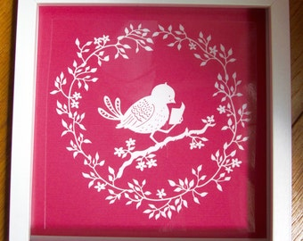 Art Print, Reader, Wall Art, Papercut, Paper Cut, Papercutting, Paper Cutting, Papercut Art, Paper Cut Art, Reader, Bird Art, Floral